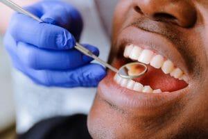Man getting dental exam