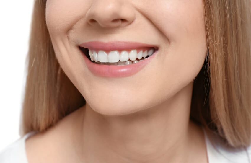 closeup of woman smiling