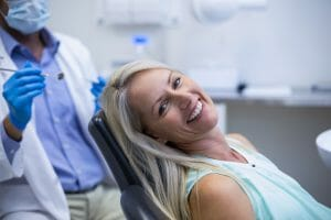 Woman in dental chair awaiting sedation dentistry procedure